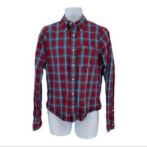 Hollister Mens Checkered Cotton Button Down Shirt Size M